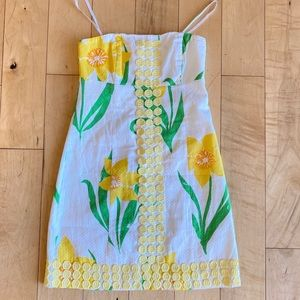 Lilly Pulitzer Yellow Floral Strapless Sundress